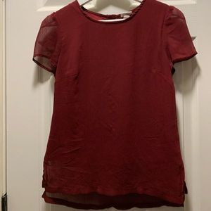 Wine Red top with back zipper
